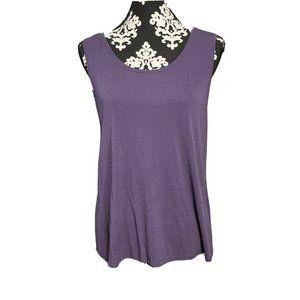 Eileen Fisher Large Purple Sleeveless 100% Silk Ta